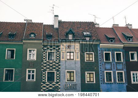 POZNAN, POLAND - AUGUST 05 2015 - beautiful part of the old town main square resting place and the main tourist center of the city with unique architecture