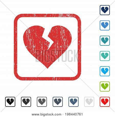 Heart Break rubber watermark in some color versions.. Vector pictogram symbol inside rounded rectangle with grunge design and unclean texture. Stamp seal illustration, unclean emblem.