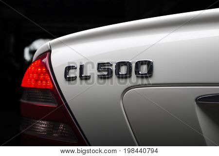 BANGKOK, THAILAND - JULY, 14 2017: Closeup of CL 500 logo on Mercedes Benz 2001 model