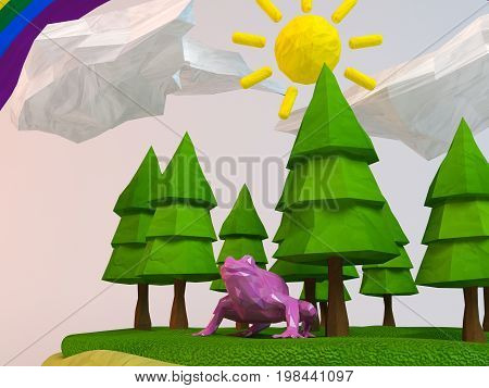 3D Frog Inside A Low-poly Green Scene