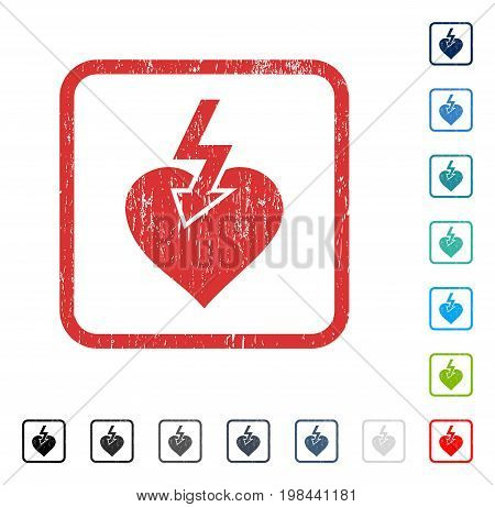 Heart Shock Strike rubber watermark in some color versions.. Vector icon symbol inside rounded rectangle with grunge design and dirty texture. Stamp seal illustration, unclean sign.