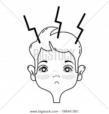 line man with headache sickness to stress problem vector illustration