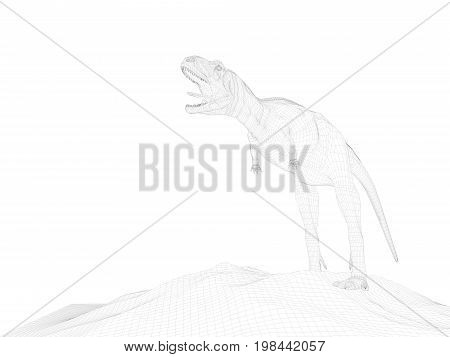 3D Rendering Of Anima Wireframel With White Background