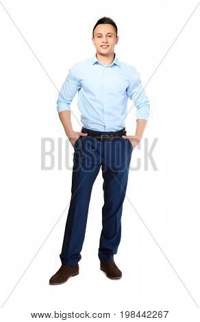 Young handsome man on white background