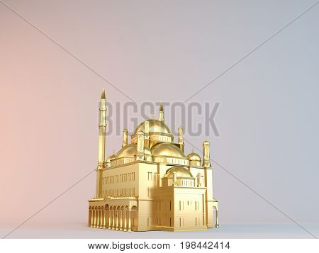3D Rendering Of A Golden Mosque On White Background