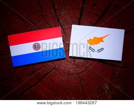 Paraguay Flag With Cypriot Flag On A Tree Stump Isolated