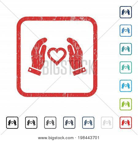 Love Care Hands rubber watermark in some color versions.. Vector icon symbol inside rounded rectangular frame with grunge design and dirty texture. Stamp seal illustration, unclean emblem.