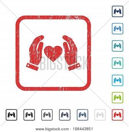 Love Care Hands rubber watermark in some color versions.. Vector icon symbol inside rounded rectangle with grunge design and dirty texture. Stamp seal illustration, unclean emblem.