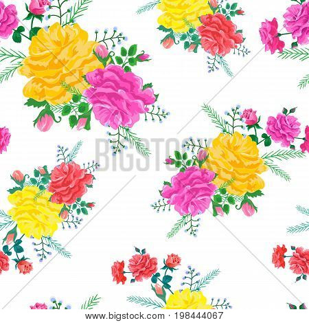 Beautiful seamless pattern with red, pink and yellow roses on a white background.Vector illustration in the style of shabby chic.Print for book covers, textile, fabric, wrapping gift paper