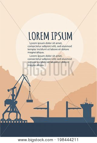 Seaport banner with crane silhouette. Maritime container transportation, commercial transportation logistics. Worldwide freight shipping business company, global delivery service vector illustration