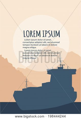 Sea shipping flyer template. Maritime container transportation, commercial transportation logistics. Worldwide freight shipping business company, global delivery service vector illustration