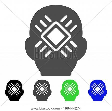 Cyborg Head flat vector pictogram. Colored cyborg head, gray, black, blue, green icon versions. Flat icon style for web design.