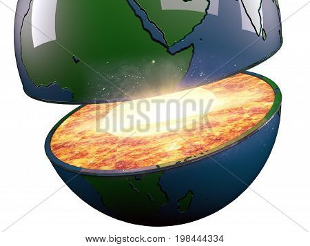 Illustration Of A Sliced Earth