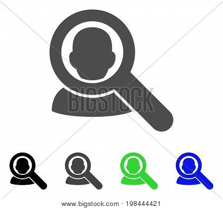 Find User flat vector pictogram. Colored find user, gray, black, blue, green icon variants. Flat icon style for graphic design.