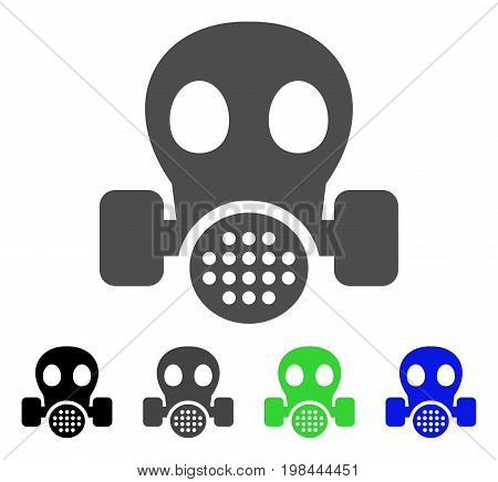 Gas Mask flat vector icon. Colored gas mask, gray, black, blue, green icon variants. Flat icon style for application design.