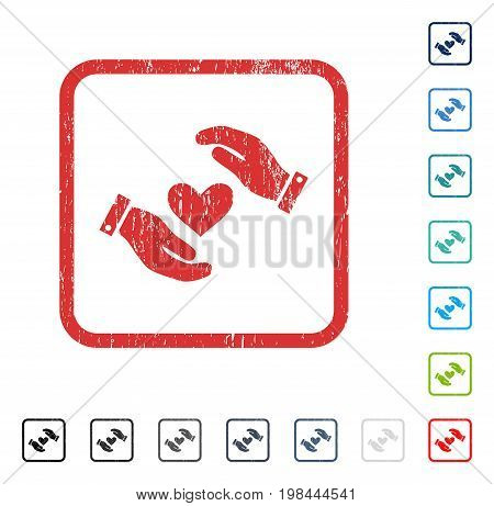 Love Heart Care Hands rubber watermark in some color versions.. Vector icon symbol inside rounded rectangular frame with grunge design and unclean texture. Stamp seal illustration, unclean sign.