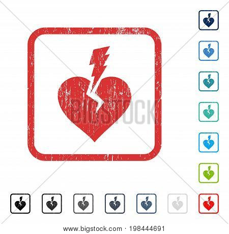 Love Heart Crash rubber watermark in some color versions.. Vector pictogram symbol inside rounded rectangular frame with grunge design and unclean texture. Stamp seal illustration, unclean emblem.