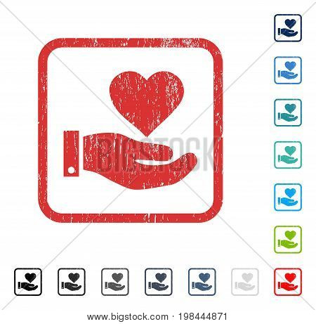 Love Heart Offer Hand rubber watermark in some color versions.. Vector icon symbol inside rounded rectangular frame with grunge design and unclean texture. Stamp seal illustration, unclean sign.