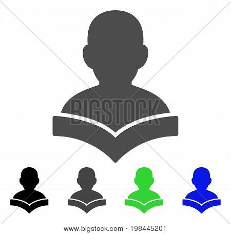 Reader Student flat vector pictogram. Colored reader student, gray, black, blue, green icon versions. Flat icon style for web design.
