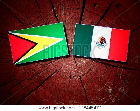 Guyana Flag With Mexican Flag On A Tree Stump Isolated