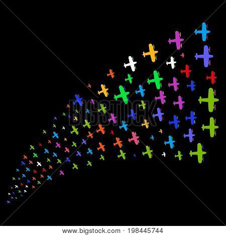Source stream of aircraft icons. Vector illustration style is flat bright multicolored iconic aircraft symbols on a black background. Object fountain made from icons.