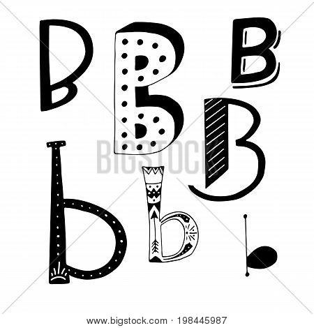 Unique collection of hand drawn letter B with doodle ornament. Cute lettering boho style script. ABC latin alphabet.