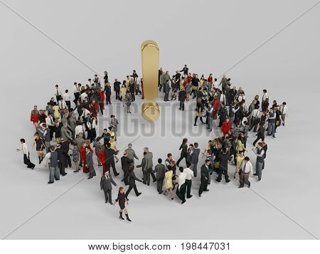 3D Characters Around A Golden Exclamation Mark