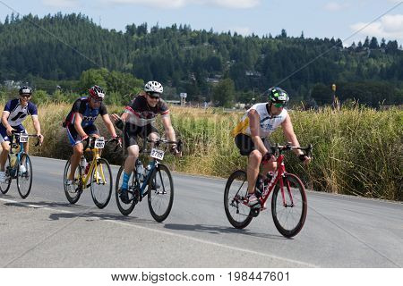 Seattle, WA, July 15th - Bike riders on the Seattle to Portland Bike Ride (STP). The bike ride is 204 miles and leaves Seattle at 4:45 A.M.