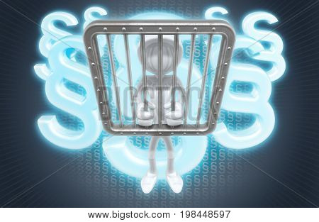 Conviction The Original 3D Character Illustration Behind Bars