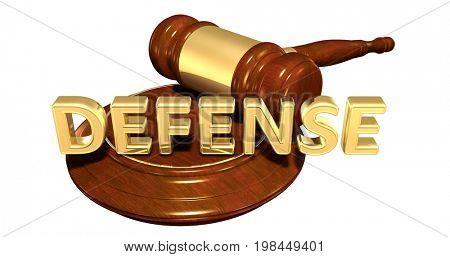 Defense Legal Gavel Concept 3D Illustration