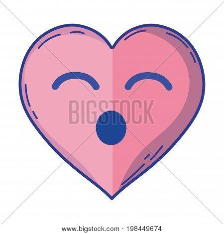 kawaii cute funny heart love vector illustration