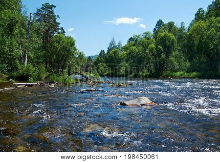 Smal mountain river Kika. Republic of Buryatia