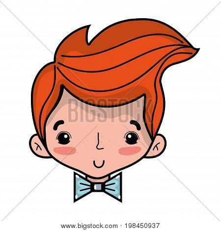 avatar man head with hairstyle and bowtie vector illustration