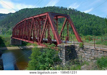 Circum-Baikal railroad . Railway bridge, siberia summer travel