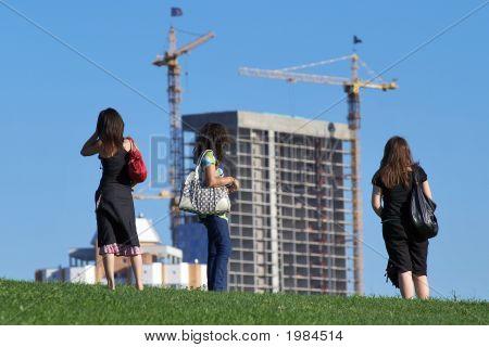 Girls Watching The Construction