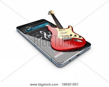 Guitar Lessons Online. Musical App. 3D Illustration