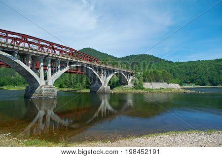 Circum-Baikal railroad . Railway bridge siberia summer travel