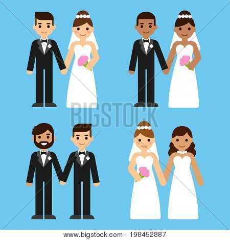 Cute cartoon diverse wedding couples set. Caucasian and black mixed race and gay brides and grooms. Equal marriage concept vector illustration.