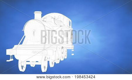 Outlined 3D Rendering Of A Train Inside A Blue Studio