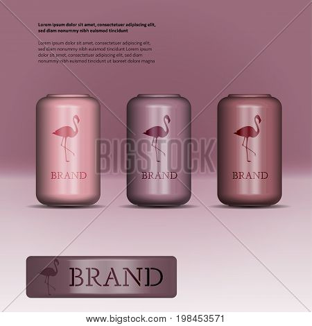 Brand. Soda can in red and purple shades with logo and text.