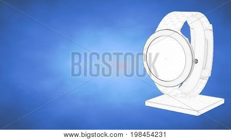 Outlined 3D Rendering Of A Watch Inside A Blue Studio