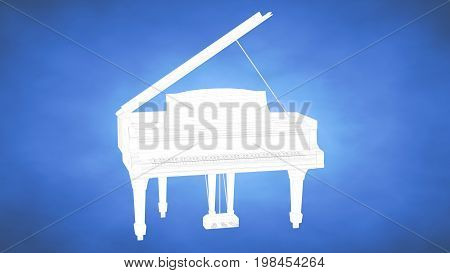Outlined 3D Rendering Of A Piano Inside A Blue Studio