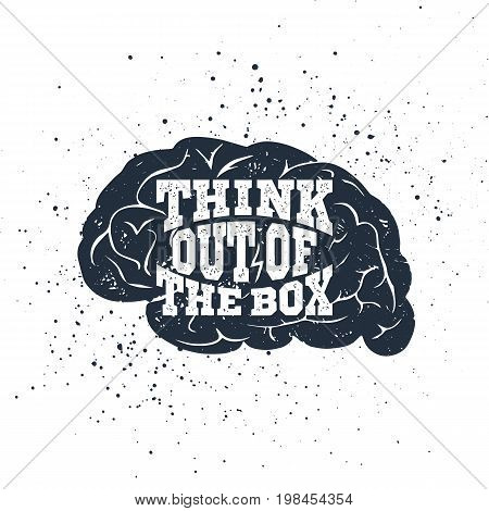 Hand drawn inspirational label with textured brain vector illustration and