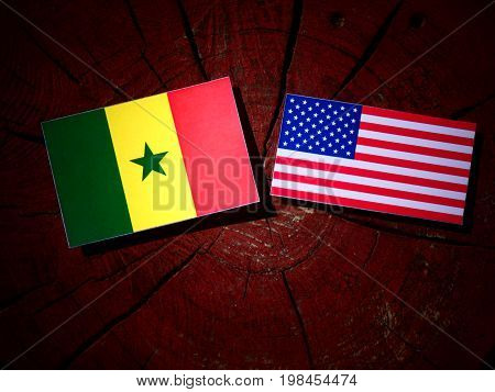 Senegal Flag With Usa Flag On A Tree Stump Isolated