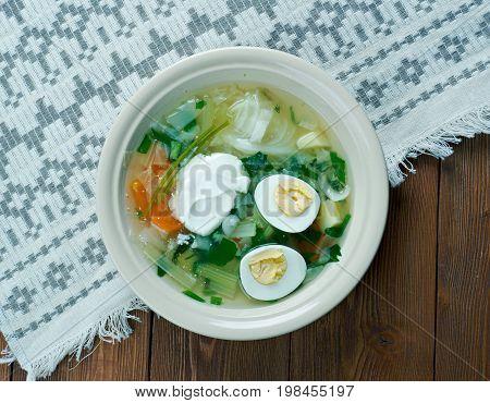 Polish Sorrel Soup. Slavic cuisine, , close up meal