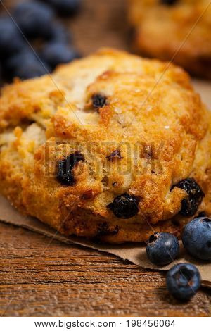 Homemade Fresh Blueberry Scones Pastry. Selective focus.