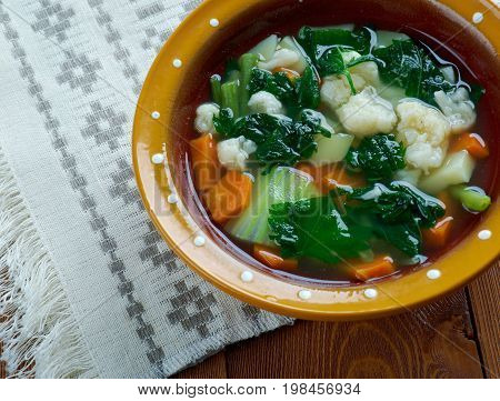 nettle soup.Russian green shchi with nettle freshness cooked close up