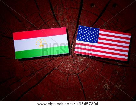 Tajikistan Flag With Usa Flag On A Tree Stump Isolated