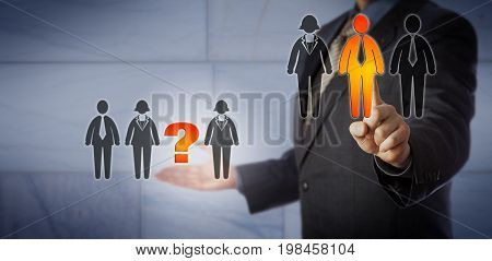 Blue chip recruitment agent selecting one male employee in one team to fill an open position in another. Human resources concept for filling the talent gap job opening team building headhunting.