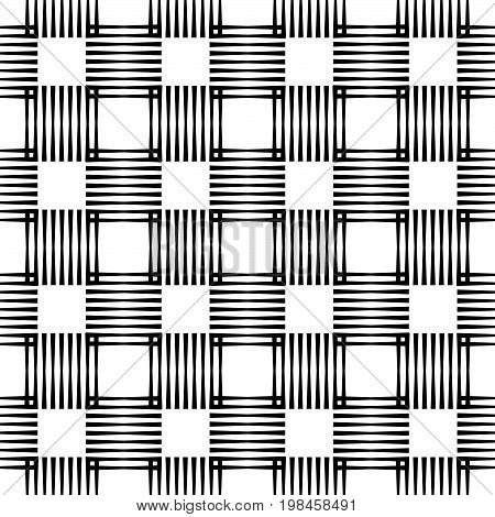 Seamless vector crosshatch pattern seamless checkered plaid pattern modern geo geometric background in black and white seamless fabric print